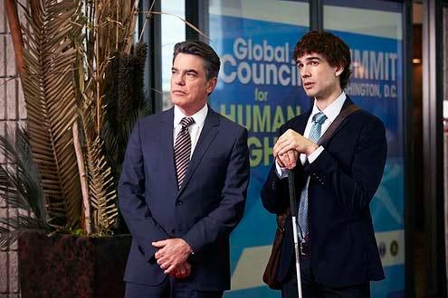"Covert Affairs - Season 5 - ""Sensitive Euro Man"" - Peter Gallagher and Christopher Gorham"