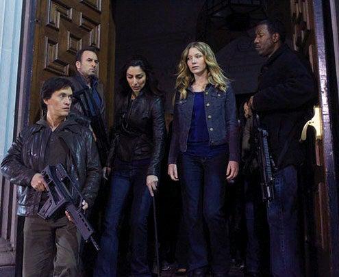 "The Event - Season 1 - ""Face Off"" - Clifton Collins Jr. as Thomas, Scott Patterson as Michael Buchanan, Necar Zadegan as Isabel and Sarah Roemer as Leila Buchanan"