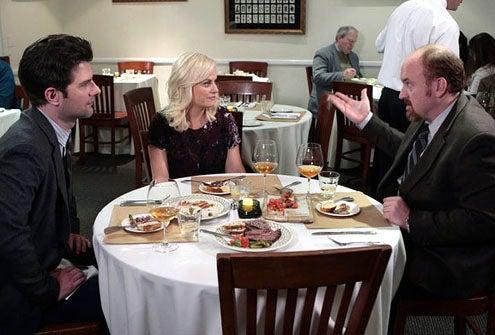 "Parks and Recreation - Season 4 - ""Dave Returns"" - Adam Scott as Ben Wyatt, Amy Poehler as Leslie Knope and Louis C.K. as Dave Sanderson"