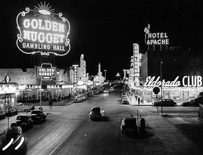 """American Experience - """"Las Vegas: An Unconventional History"""" - A 1948 view of the downtown casino district on Fremont Street known as """"Glitter Gulch."""""""