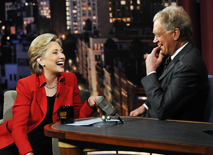The Late Show with David Letterman - Democratic Presidential candidate Senator Hillary Clinton, stops by the Ed Sullivan Theater in New York City. -  Feb. 4, 2008