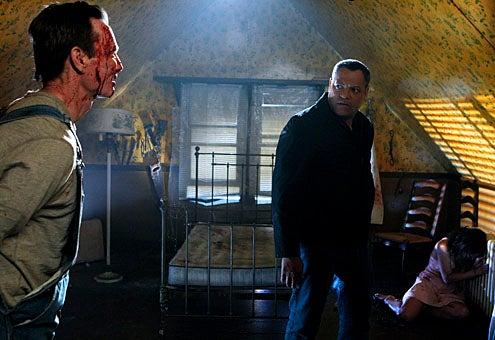 "CSI - Season 11 - ""In a Dark, Dark House"" - Bill Irwin, Laurence Fishburne, and Tracee Ellis Ross"