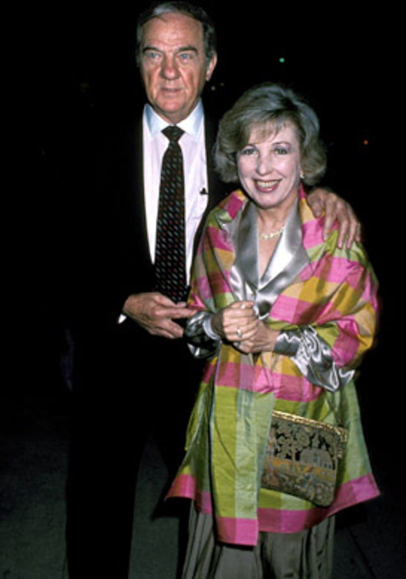 """Karl Malden and wife Mona Greenberg - Jackie Mason's one man show """"The World According to Me"""", Beverly Hills, September 12, 1986"""