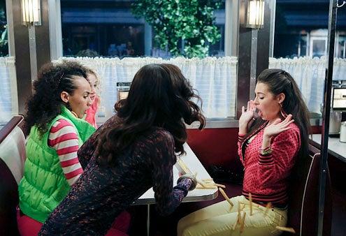 "The Carrie Diaries - Season 1 - ""Dangerous Territory"" - Whitney Vance, Alexandra Miller, Katie Findlay and Chloe Bridges"