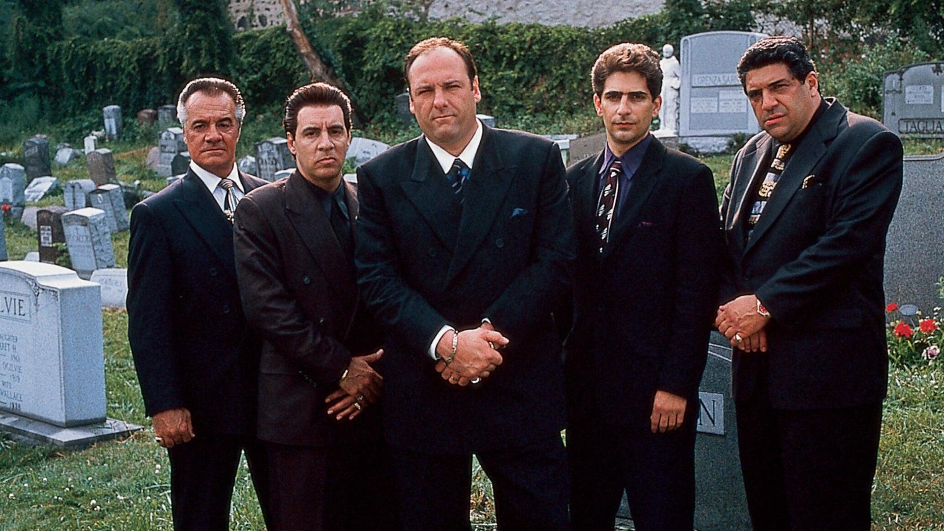 Tony Sirico, Steven Van Zandt, James Gandolfini, Michael Imperioli, and  Vincent Pastore in The Sopranos