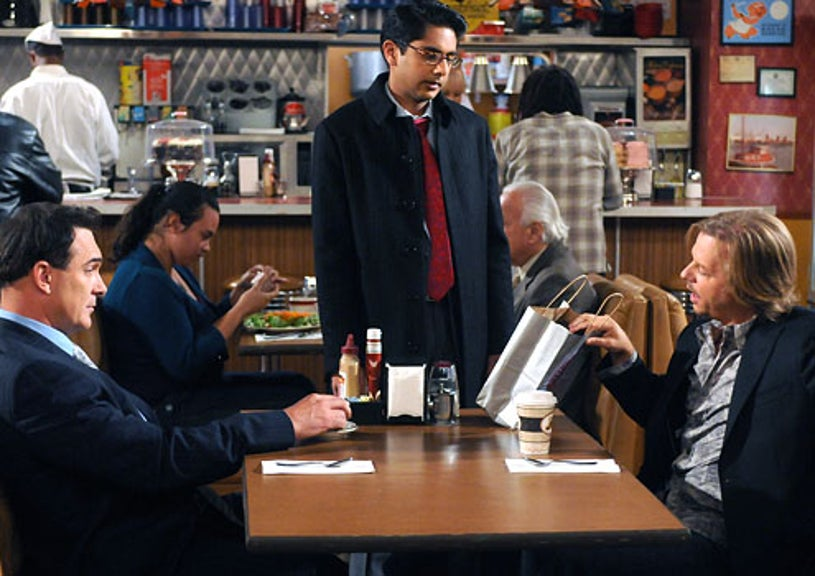 """Rules of Engagement - Season 4 - """"Snoozin' for a Bruisin"""" - Patrick Warburton as Jeff, Adhir Kalyan as Timmy and David Spade as Russell"""