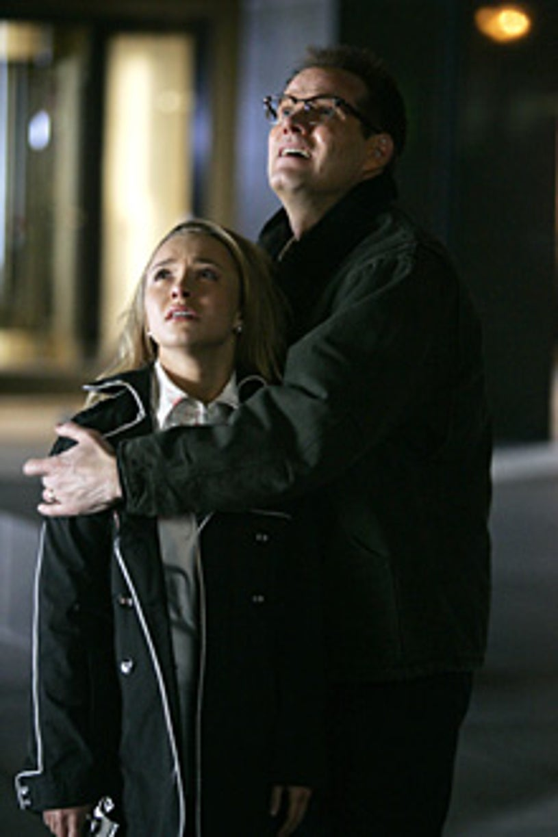 """Heroes - """"How to Stop an Exploding Man"""" - Hayden Panettiere as Claire, Jack Coleman as H.R.G."""