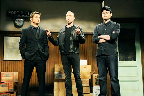 "Saturday Night Live - Season 38 - ""Jeremy Renner"" - Jeremy Renner, Jason Sudeikis and Bill Hader"