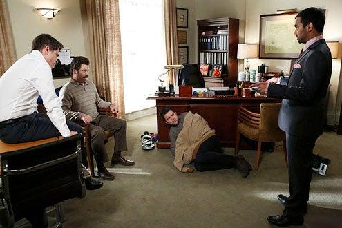 "Parks and Recreation - Season 5 - ""Ann's Decision"" - Rob Lowe, Nick Offerman, Adam Scott and Aziz Ansari"