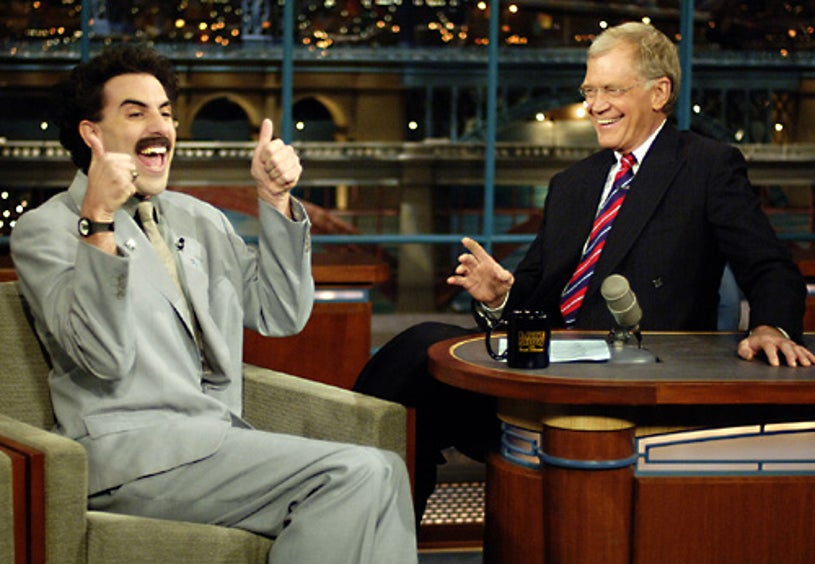 The Late Show with David Letterman - Borat, the fictional Kazakhstani journalist portrayed by comedian Sacha Baron Cohen, makes his first late night talk show appearance. -  Oct. 30 2006