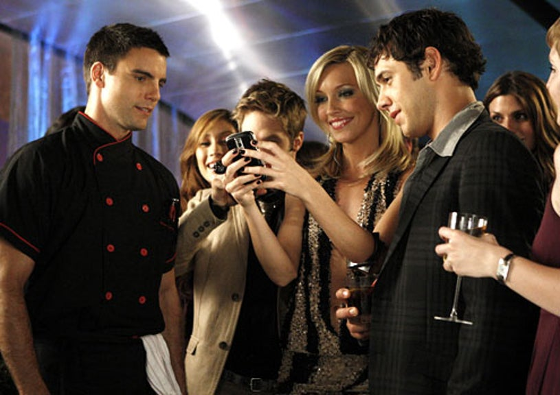"""Melrose Place - Season 1 - """"Canon"""" - Colin Egglesfield as Auggie Kirkpatrick, Shaun Sipos as David Breck, Katie Cassidy as Ella Simms and Michael Rady as Jonah Miller"""