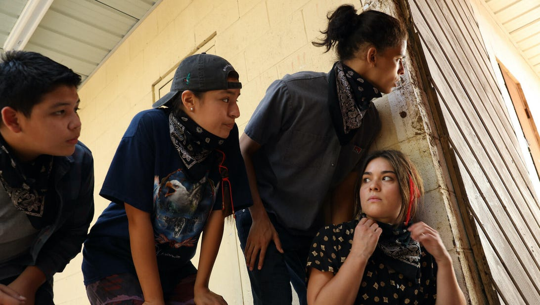 Lane Factor, Paulina Alexis, D'Pharoah Woon-A-Tai, and Devery Jacobs, Reservation Dogs