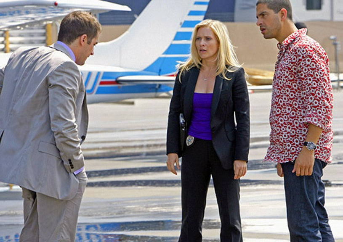 "CSI: Miami - Season 7 - ""Resurrection"" - Jonathan Togo as Ryan Wolfe, Emily Procter as Calleigh Duquesne and Adam Rodriguez as Eric Delko"