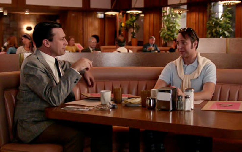 """Mad Men - Season 7 - """"Time Zones"""" - Jon Hamm as Don Draper and Vincent Kartheiser as Pete Campbell"""