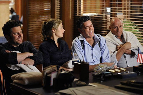"Psych - Season 6 - ""Last Night Gus"" - James Roday as Shawn Spencer, Maggie Lawson as Juliet O'Hara, Timothy Omundson as Carlton Lassiter and Corbin Bernsen as Henry"