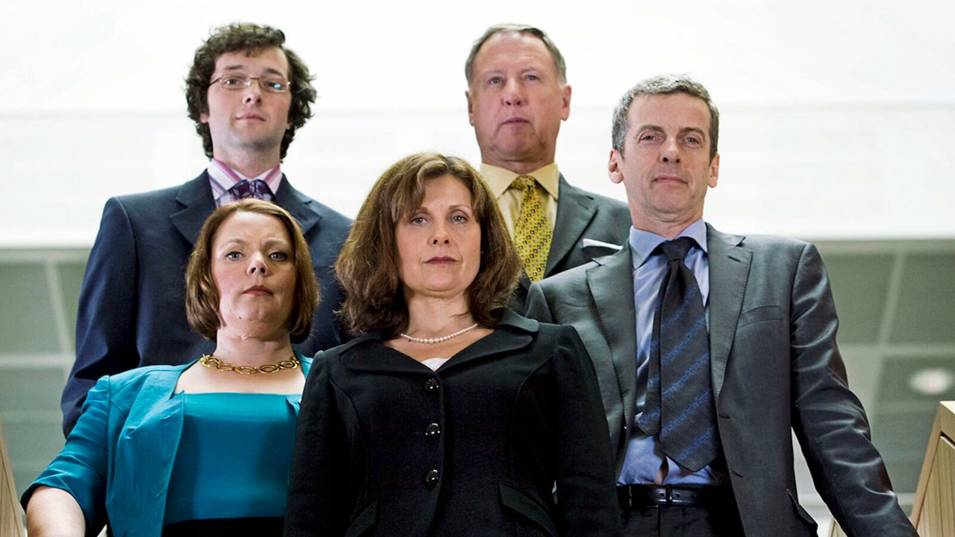Chris Addison, James Smith, Joanna Scanlan, Rebecca Front, and Peter Capaldi, The Thick of It