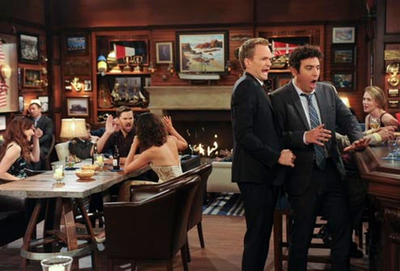 """How I Met Your Mother - Season 9 - """"Bass Player Wanted"""" - Alyson Hannigan as Lily, Andrew Rannells guest stars as Darren, Cobie Smulders as Robin Neil Patrick Harris as Barney, Josh Radnor as Ted"""