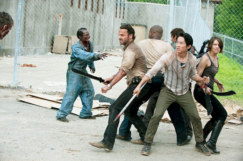 "The Walking Dead - Season 3 - ""Seed"" - Andrew Lincoln, Steven Yeun and Lauren Cohen"