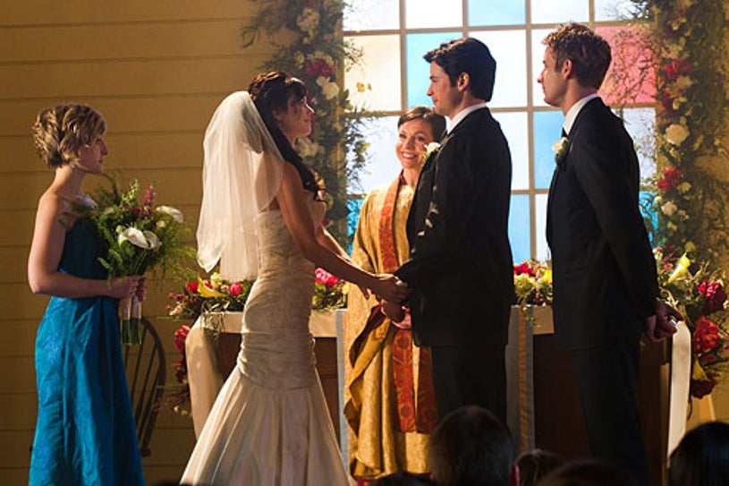 """Smallville - Season 10 - """"Finale"""" - Allison Mack as Chloe Sullivan, Erica Durance as Lois Lane, Tom Welling as Clark Kent and Justin Hartley as Oliver Queen"""