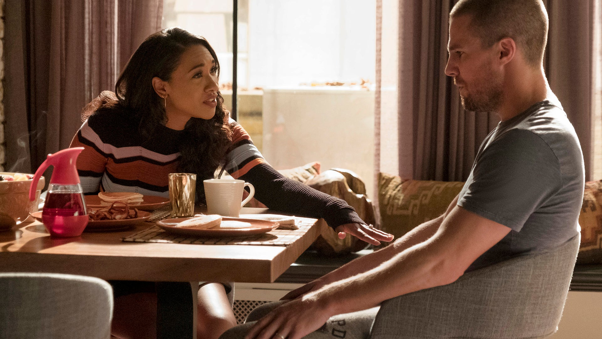 Candice Patton and Stephen Amell, The Flash