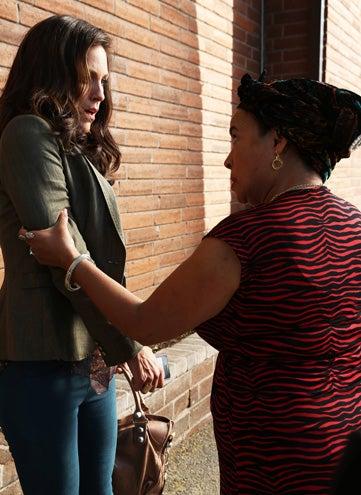 "The Bridge - Season 1 - ""The Beast"" - Annabeth Gish as Charlotte Millwright, Amla Martinez as Graciela Rivera"