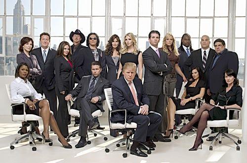 The Celebrity Apprentice - The fourteen celebrity contestants with Ivanka Trump, Donald Trump and Donald Trump Jr.