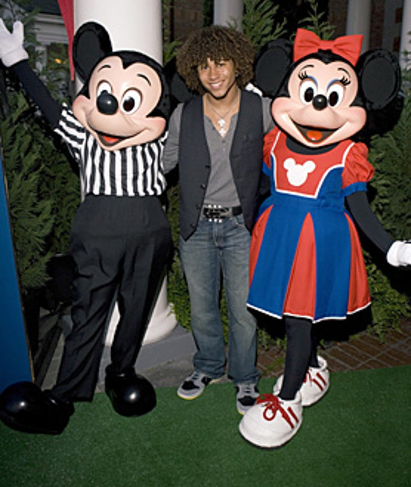 Disney Channel Games - Corbin Bleu poses with Mickey and Minnie Mouse, April 2007