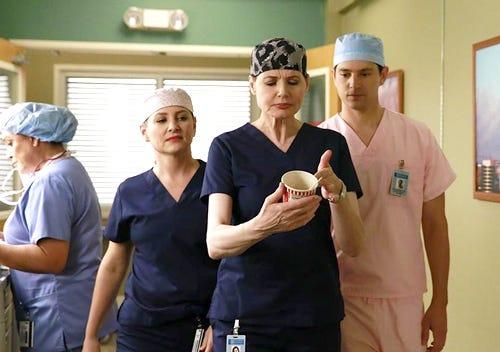 "Grey's Anatomy - Season 11 - ""Risk"" - Jessica Capshaw, Genna Davis, Nicholas D'Agosto"