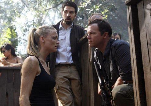 "Chuck - Season 4 - ""Chuck vs. Phase Three"" - Yvonne Strahovski as Sarah Walker, Joshua Gomez as Morgan Grimes and Adam Baldwin as John Casey"