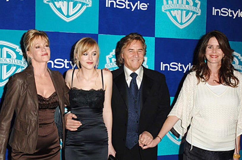 Melanie Griffith, Dakota Johnson, Don Johnson, and guest - InStyle & Warner Bros. 2006 Golden Globes After Party - Jan. 2006