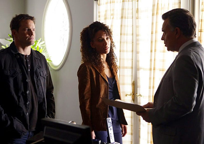 """Numb3rs - Season 5 - """"Guilt Trip"""" - Dylan Bruno as Colby Granger, Sophina Brown as Nikki Betancourt and guest star Mitch Langford"""