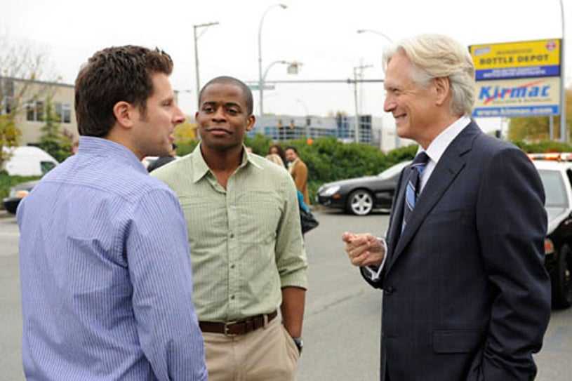 "Psych - Season 4 - ""Think Tank"" - James Roday, Dule Hill and Bruce Davidson"
