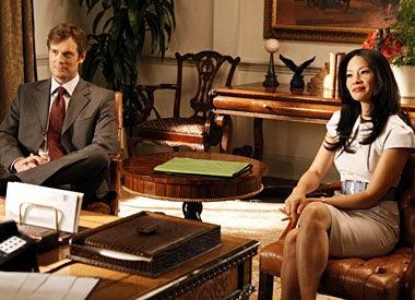 """Dirty Sexy Money - Season 2, """"The Verdict"""" - Peter Krause as Nick George, Lucy Liu as Nola Lyons"""