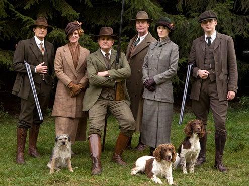 Downton Abbey - Season 2 - Nigel Havers as Lord Hepworth, Samantha Bond as Lady Rosamund, Hugh Boneville as Lord Grantham, Iain Glen as Sir Richard Carlisle, Michelle Dockery as Lady Mary and Dan Stevens as Matthew Crawley