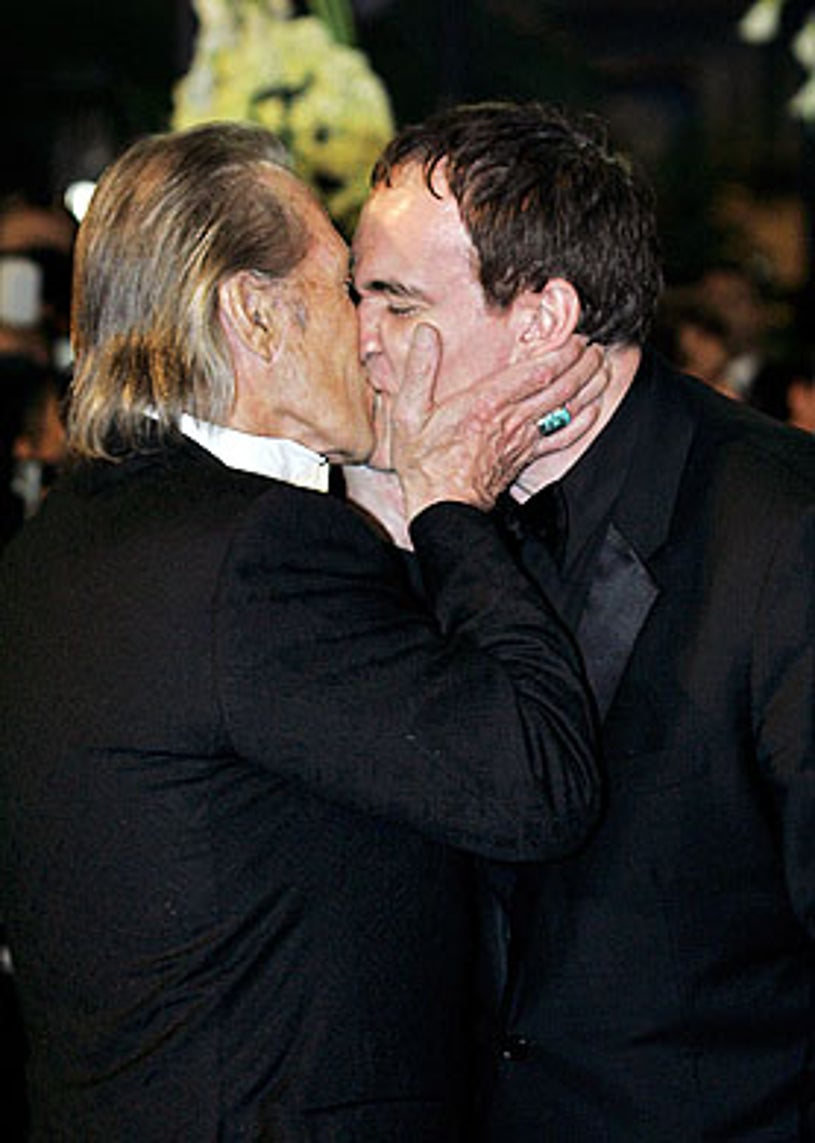 """David Carradine and Quentin Tarantino - arrival for the official projection of """"Kill Bill 2"""" at Cannes Film Festival, May 16, 2004"""