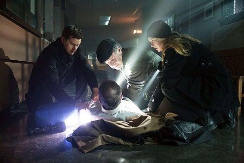 "Fringe - Season 4 - ""Welcome to Westfield"" - Joshua Jackson as Peter Bishop, John Noble as Walter Bishop and Anna Torv as Olivia Dunham"