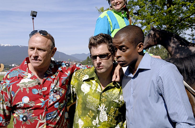 "Psych - ""And Down The Stretch Comes Murder"" - Corbin Bernsen as Henry, James Roday as Shawn, Dule Hill as Gus"