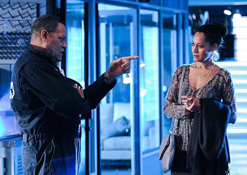 """CSI - Season 11 - """"All That Cremains"""" - Laurence Fishburne as Dr. Raymond Langston and Tracee Ellis Ross as Gloria Parkes"""