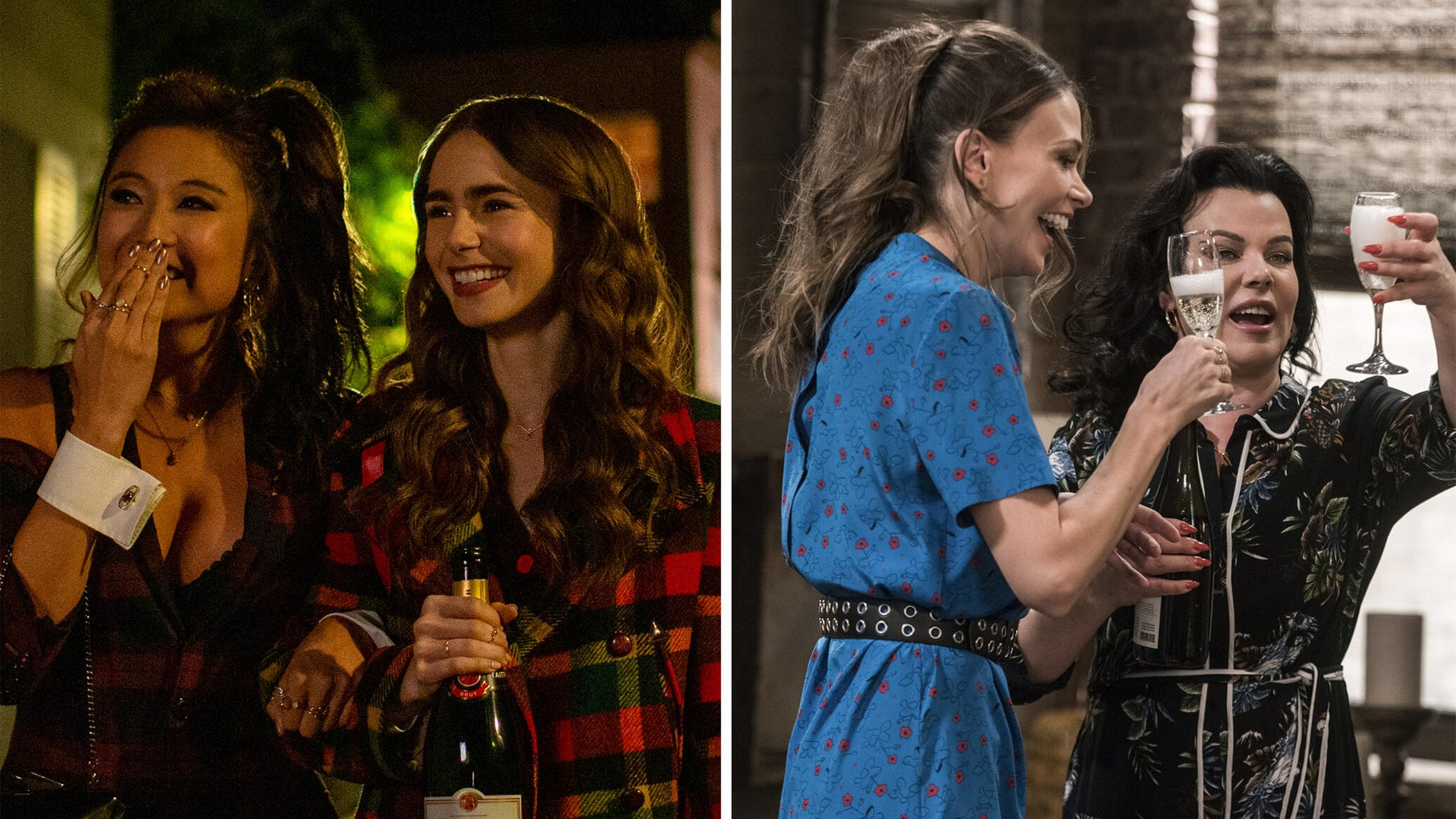 Ashley Park and Lily Collins, Emily in Paris; Sutton Foster and Debi Mazar, Younger