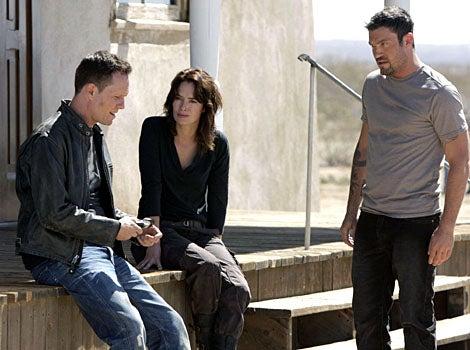 "Terminator: The Sarah Connor Chronicles - Season 2, ""The Mousetrap"" - Dean Winters as Charley, Lena Headey as Sarah, Brian Austin Green as Derek"