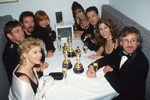 Tom Hanks, Steven Spielberg, Elton John, Bruce Springsteen, Rita Wilson and Patty Scialfa - The 66th Annual Academy Awards, March 21, 1994