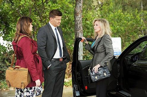 """Bones - Season 7 - The Prince in the Plastic"""" - Emily Deschanel as Brennan, David Boreanaz as Booth and Morgan Fairchild as Bianca Chiverton"""