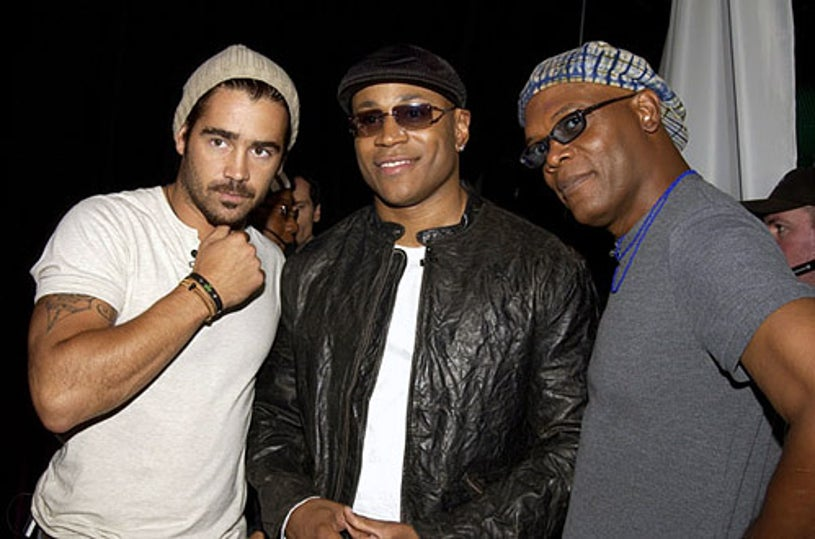 """Colin Farrell, LL Cool J and Samuel L. Jackson - MTV's """"TRL"""" in New York City, August 7, 2003"""