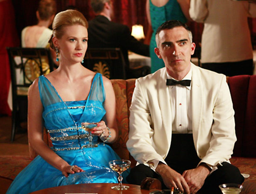 "Mad Men - Season 2 - ""The Gold Violin"" - January Jones as Betty Draper and Patrick Fischler as Jimmy Barrett"