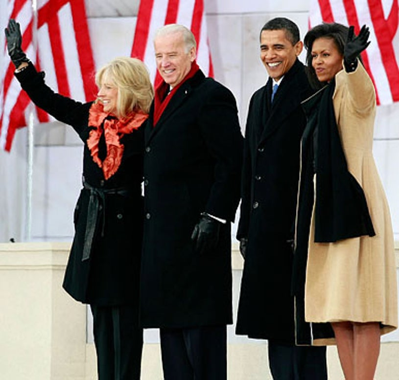 """Barack Obama, Michelle Obama, Joseph Biden and his wife Jill Biden - The """"We Are One: The Obama Inaugural Celebration at the Lincoln Memorial"""" in Washington DC, January 18, 2009"""