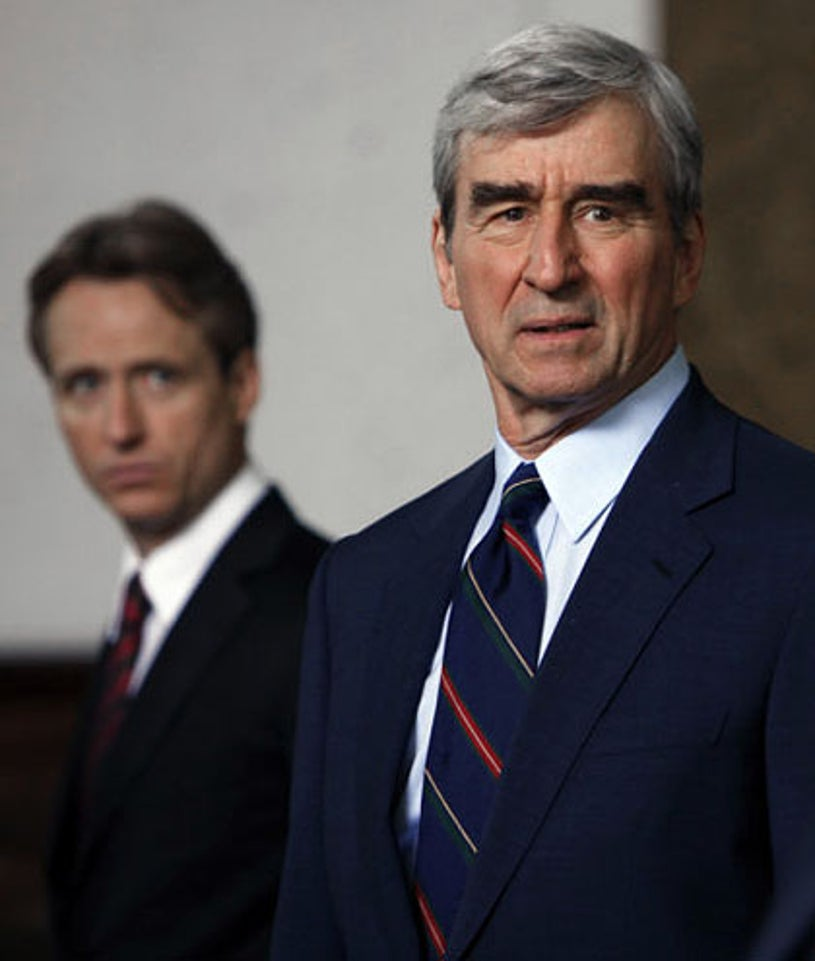 """Law & Order - Season 20 - """"Memo From the Dark Side"""" - Linus Roache as A.D.A. Michael Cutter and Sam Waterston as D.A. Jack McCoy"""