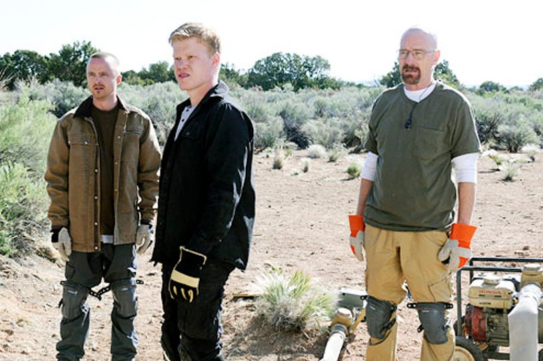 "Breaking Bad - Season 5 - ""Dead Freight"" - Aaron Paul, Jesse Plemons and Bryan Cranston"
