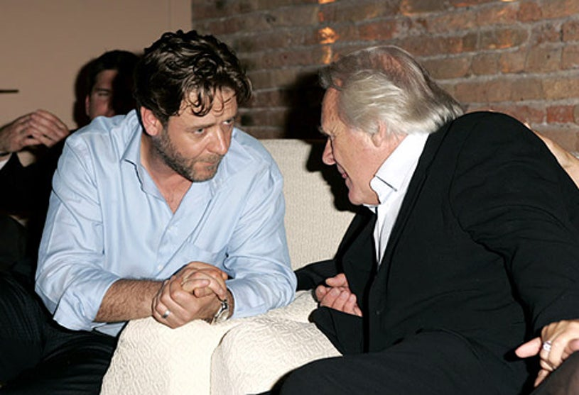 """Russell Crowe and Anthony Hopkins - 2005 Venice Film Festival """"Cinderella Man"""" party, September 5, 2005"""