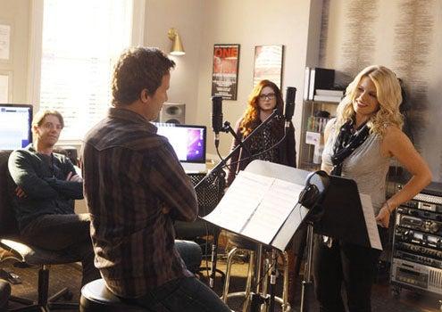 "Smash - Season 1 - ""Mr. DiMaggio"" - Christian Borle as Tom Levitt, Will Chase as Michael Swift, Debra Messing as Julia Houston and Megan Hilty as Ivy Lynn"