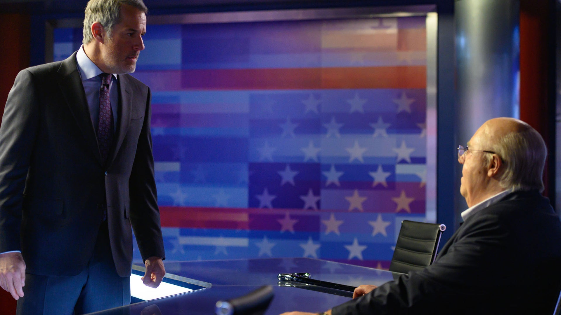 Josh Stamberg as Bill Shine and Russell Crowe as Roger Ailes in The Loudest Voice